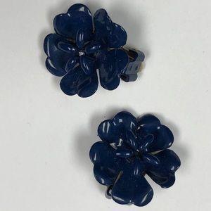Retro Blue Enamel Flower Earrings